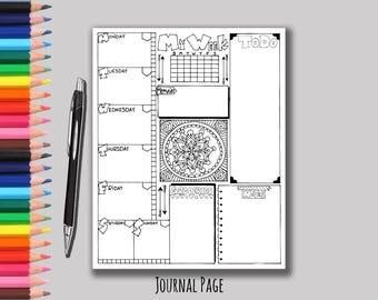 Printable Weekly Bullet Journal Planning Page - Bujo Week Planning - Journal your Week - Week at a glance - Printable Weekly Page - Organize