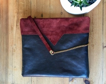 Bag pouch black leather with Maroon yoke