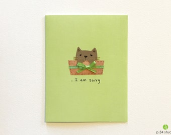 I am Sorry, handmade cards, sorry card, apology card, kitty in a box