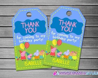 Peppa Pig Thank You Tags, Peppa Pig Favor Tags, Peppa Pig Gift Tags, Peppa Pig Tags, Peppa Pig Tag Printable, Peppa Pig Birthday Tags