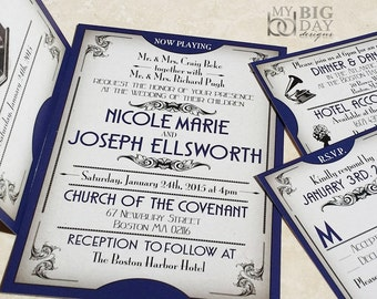 The Gatsby Ball Ticket Wedding Invitations, Great Gatsby themed wedding invitation set, Gatsby Wedding Invites