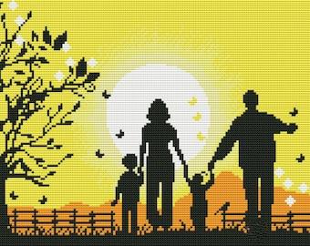 Cross stitch pattern PDF family, Cross stitch pattern PDF people, Cross stitch pattern PDF easy