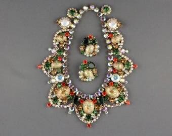 Vintage Juliana Easter Egg Demi Parure Necklace And Clip Back Earring Set