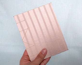 Pink Striped Upcycled Fabric Handbound Hardcover Coptic Small Pocket Journal Notebook - vellum writing paper