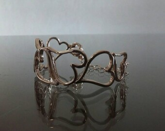 Slave bracelet silver heart pink or white gold polished finish