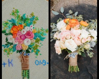 Personalized Wedding Embroidery Hoop. Portrait Bouquets