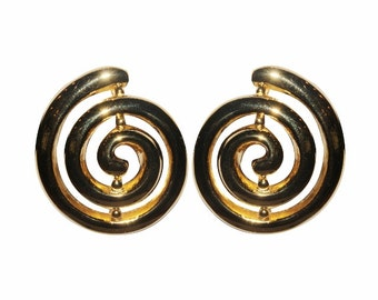 Clips VINTAGE SPHINX - shape spiral round earrings