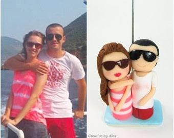 Gift for girlfriend or boyfriend, Personalized Photo Holder, summer custom portrait / wedding cake topper, for her, summer vacation gift