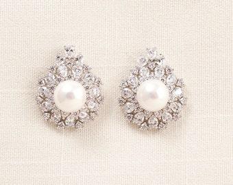 Wedding Bridal Pearl and Swarovski Crystal Earrings JSB10076ESilver