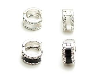 black shell hoop earrings, daily women earrings, gift for mom, girlfriend gift idea, everyday earrings, Earrings for office, Elyseejewelry