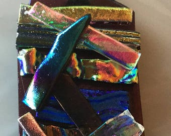 Wearable art fused dichroic glass rainbow pendant. #3