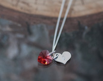 Personalized First Anniversary Gift Hand Stamped Heart Charm Initial Charm Necklace Swarovski Crystal Heart Gift for Her Monogram Necklace