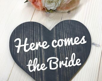 Here Comes The Bride Sign // Wedding Sign // Flower Girl Sign // Ring Bearer Sign // Rustic Wedding Sign
