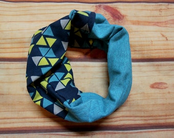 Infinity scarf two colors 6-36 months - blue and yellow Triangles