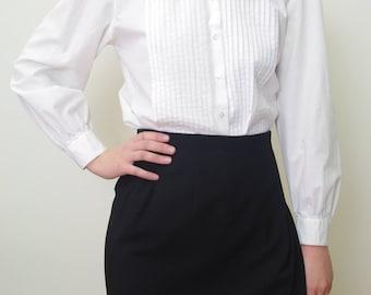 WHITE church cotton peter pan collar blouse Sz 6/M