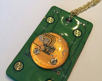 Circuit board necklace and earrings