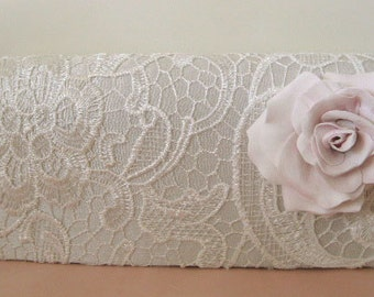 OOAK Romantic flower lace bridal off white clutch light pink rose  vintage style