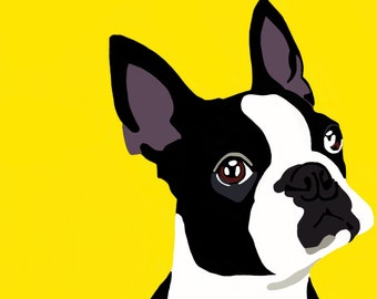 Boston Terrier Dog Digital Portrait