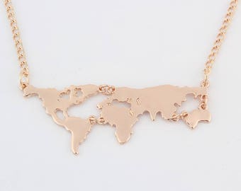 New Fashion Gold Color World Map Pendant Necklace For Women Jewelry