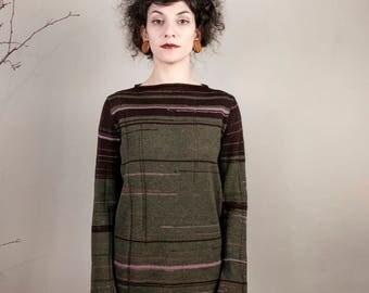 Striped sweater, Knit line, fashion knitwear, luxury wool, fashion design Italy, handmade