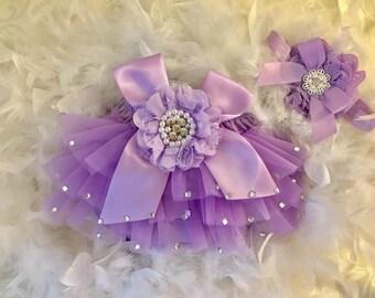 Baby girl newborn purple ruffle baby tutu bottom romper bling with matching headband photo prop