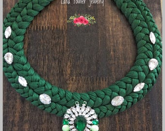 Statement necklace, green necklace, braided necklace