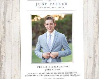 HS Graduation Invitation, Printable Invite, Custom Card, Graduate Boy, Graduate Girl, Modern Invite