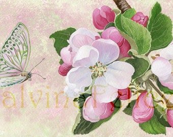 "Digital fine art, floral print from my gouache ""the flowers of the Apple-tree"", art, painting, painting flowers, butterfly, art print, pink, green"