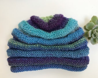 Shades of Blue Multi-Tiered Winter Hat