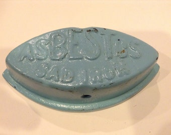 Antique Asbestos SAD IRON Cast Iron Clothes Iron Circa 1880 Beautiful Sky Blue Painted Finish