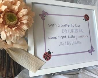 Printable Butterfly Kiss Art Print Baby Girl Nursery