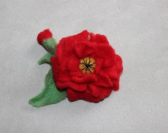 felt flower brooch, wool jewelry, accessories, wool, gifts for her