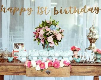 Birthday banner, Birthday backdrop, happy 1st birthday, any year banner, personalized birthday banner, happy birthday banner girl,