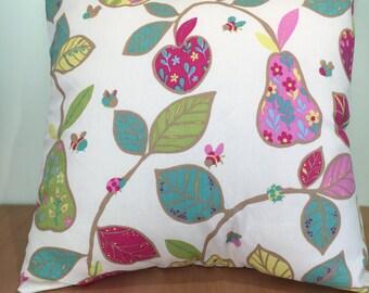 Colourful apple and pear cushion cover