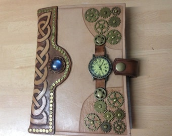 Steampunk style refillable leather journal.