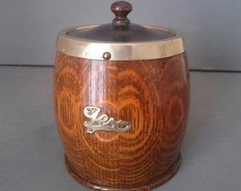 Vintage Oak Tea Caddy Silver Trim Ceramic Lining Wooden
