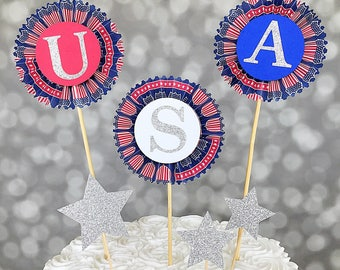 July 4th Cake Topper, USA Cake Topper, Red White & Blue Cake Set, Independence Day Cake Decor, 6 pc Set