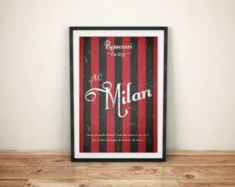 AC Milan Football Club Print Picture Art Poster Retro Style Print