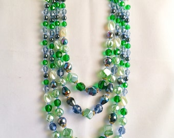 1960s Green Blue Glass Bead Multi-Strand Necklace