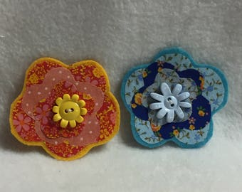 Flower Hair Clips - Set of 2 (#001.5)