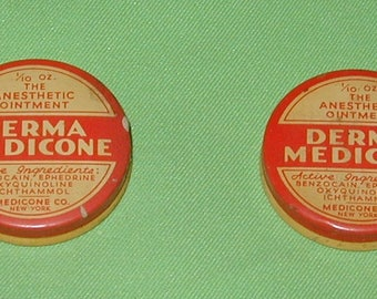 Anesthetic Ointment Derma Medicone vintage tin can rare medical collectible