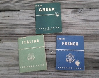 Vintage Military Issued Language Series Guides Italian Greek French