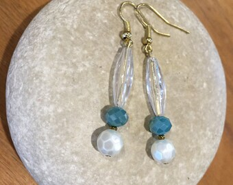 Clear & turquoise dangles