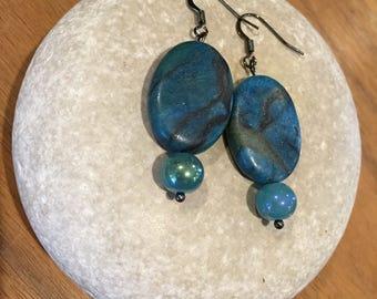 Deep blue stone dangles