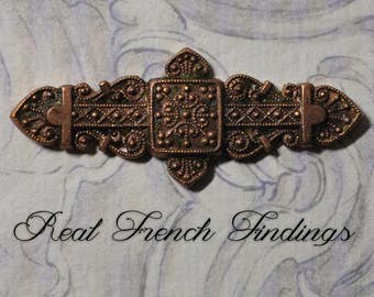 Vintage French Bar Pin Finding Byzantine Style Thick Raw Brass Die Casting 1 Piece 315J