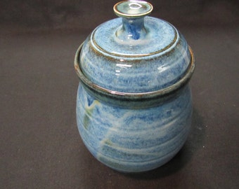 Pottery Covered Jar/Pottery/Blue/Hand Made/Wheel Thrown/Signed and Stamped