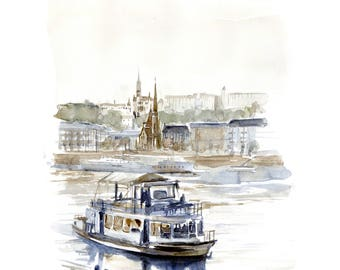 Watercolor of Budapest, boat on the Danube, painting boat Danube, illustration Budapest fog, drawing architecture from the parliament