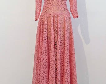 1940's Pink Lace Dress with Scalloped Neckline