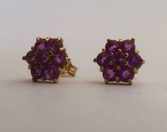 9ct African Amethyst Studs