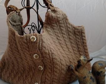 Tan Wool Shoulder Bag